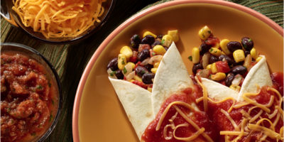 Black Bean, Corn and Roasted Pepper Enchiladas with Ranchero Sauce recipe