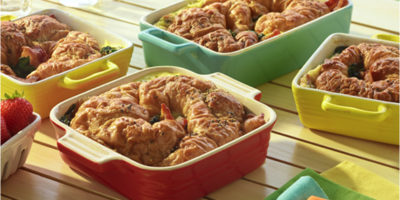 Croissant Pudding with Bacon and Spinach recipe