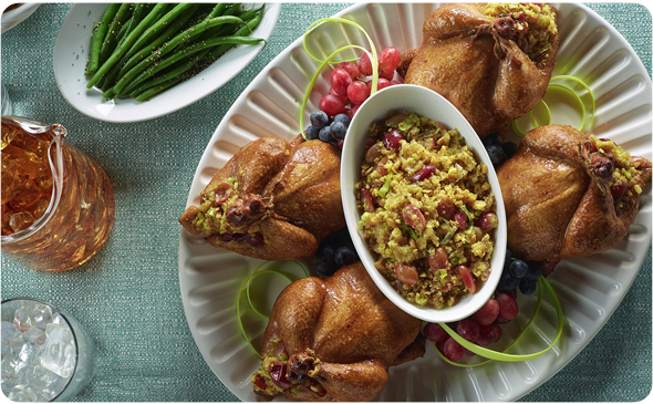 Grape Stuffed Cornish Hens