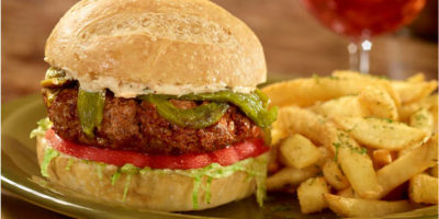 New Mexico Burger with Roasted Peppers recipe