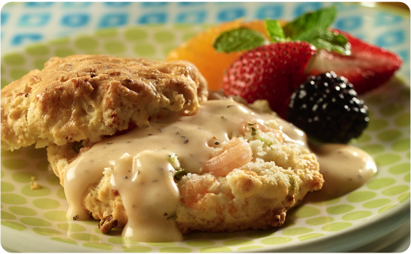 Shrimp and Garlic-Cheese Biscuits with Spicy Pepper Gravy