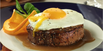 Steak & Fried Egg with Black Pepper Pan Gravy recipe