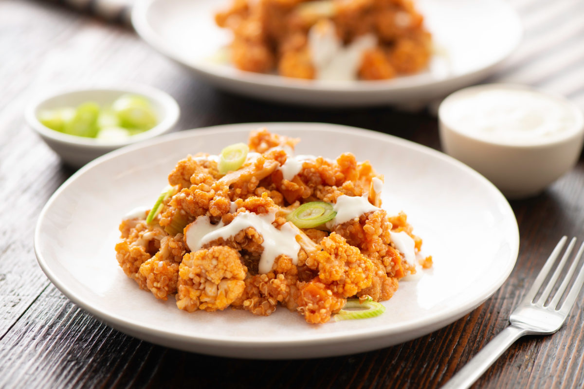 Slow Cooker Buffalo Cauliflower with Quinoa