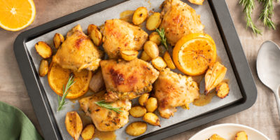 Honey Orange Sheet Pan Chicken Thighs recipe