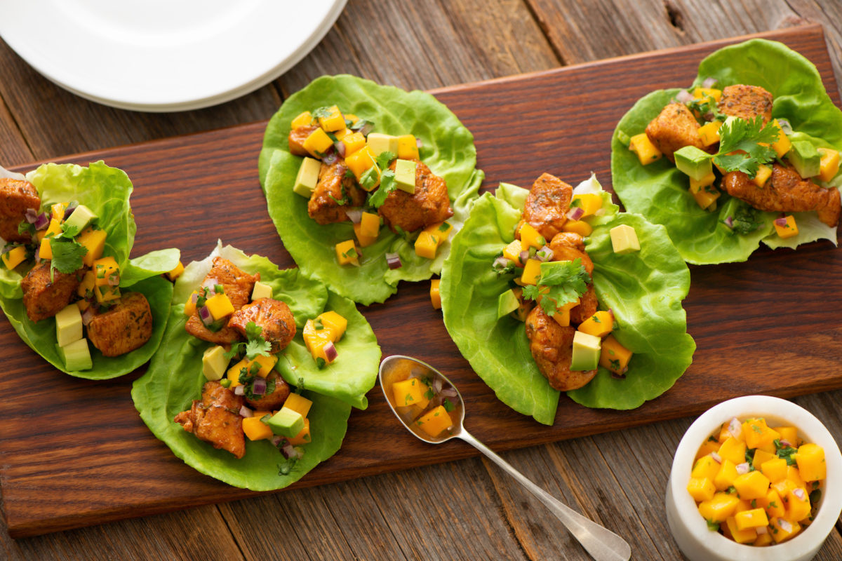 Chicken Lettuce Cups with Mango and Chipotle