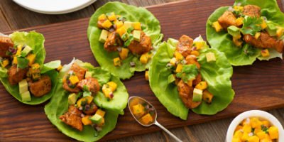 Chicken Lettuce Cups with Mango and Chipotle recipe
