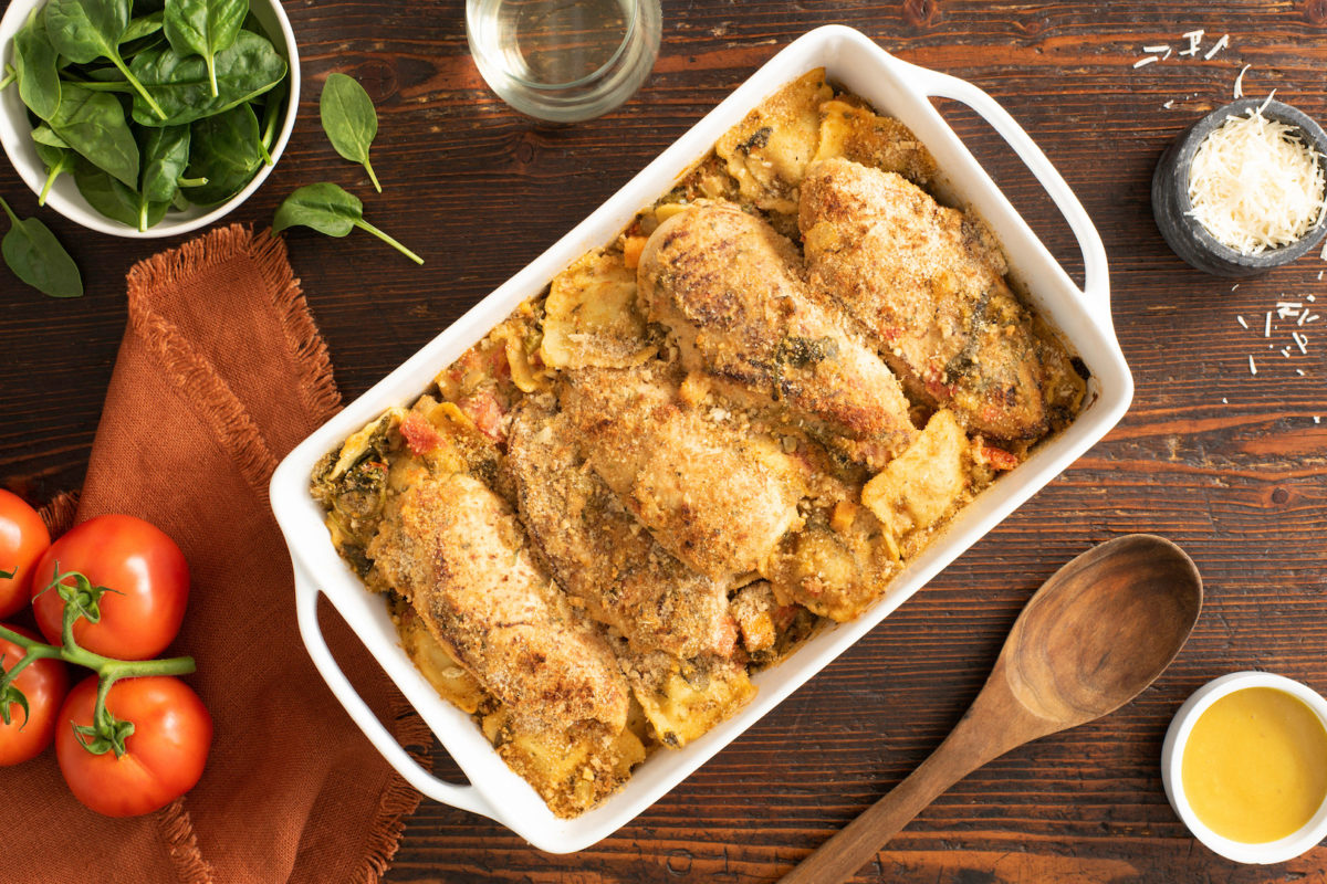 Tuscan Chicken Ravioli Bake