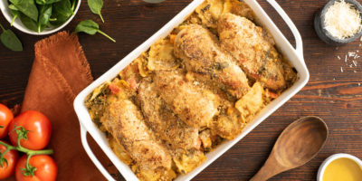 Tuscan Chicken Ravioli Bake recipe