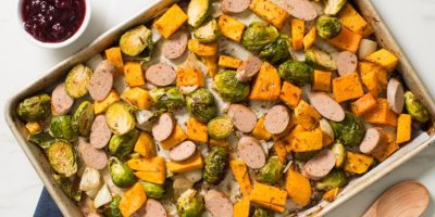 Turkey Sausage Sheet Pan Dinner recipe