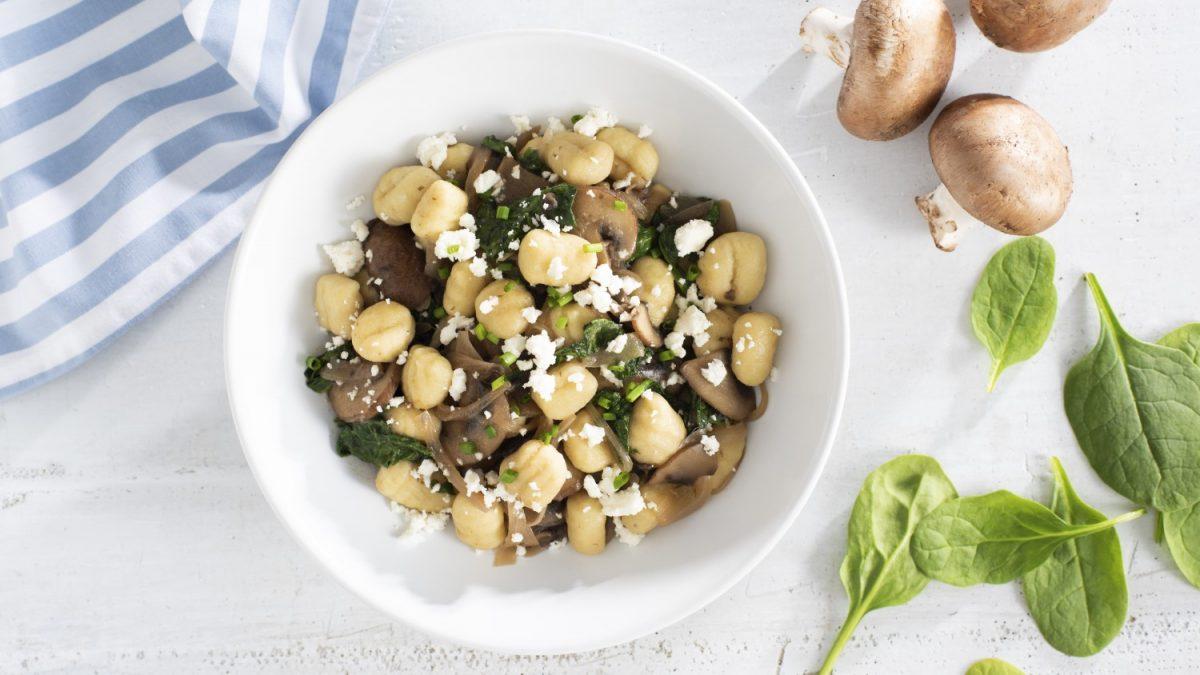 Spinach, Mushroom and Feta Gnocchi