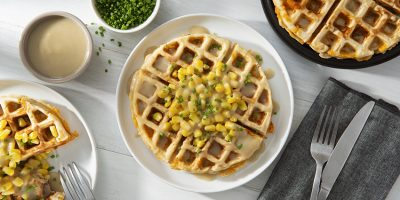 Leftover Turkey and Stuffing Waffles with Gravy recipe