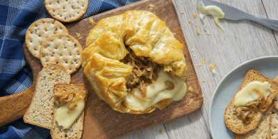 French Onion Baked Brie recipe