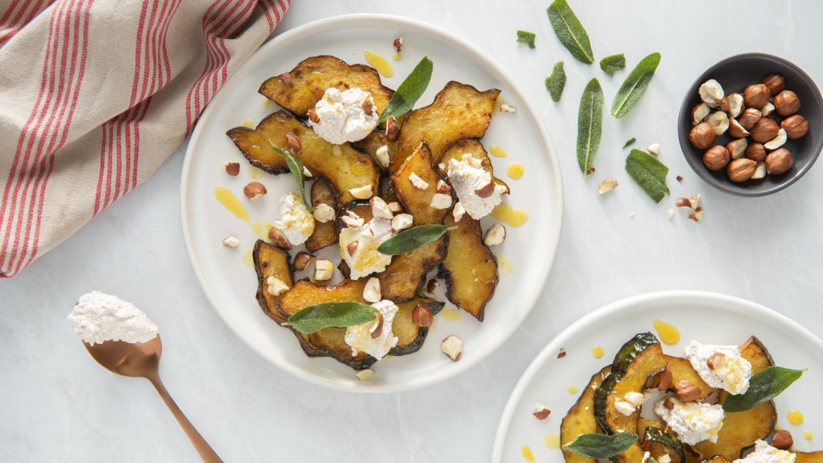 Maple Glazed Squash with Ricotta and Sage