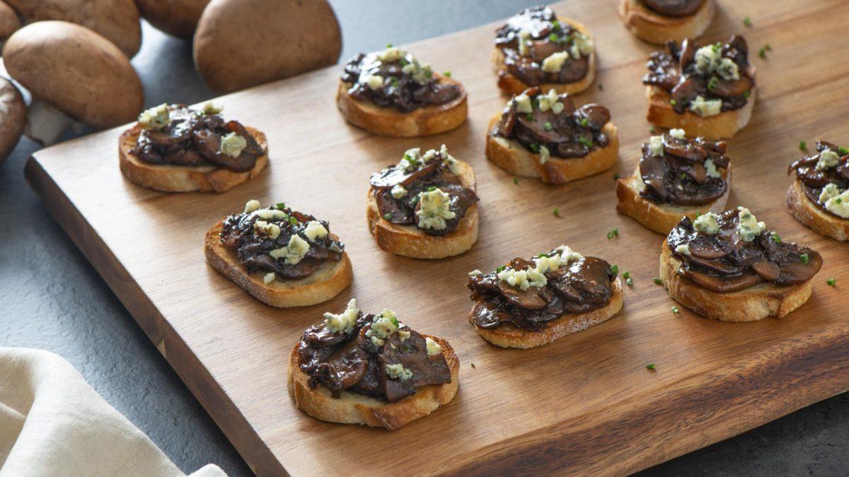 Mushroom and Blue Cheese Toasts