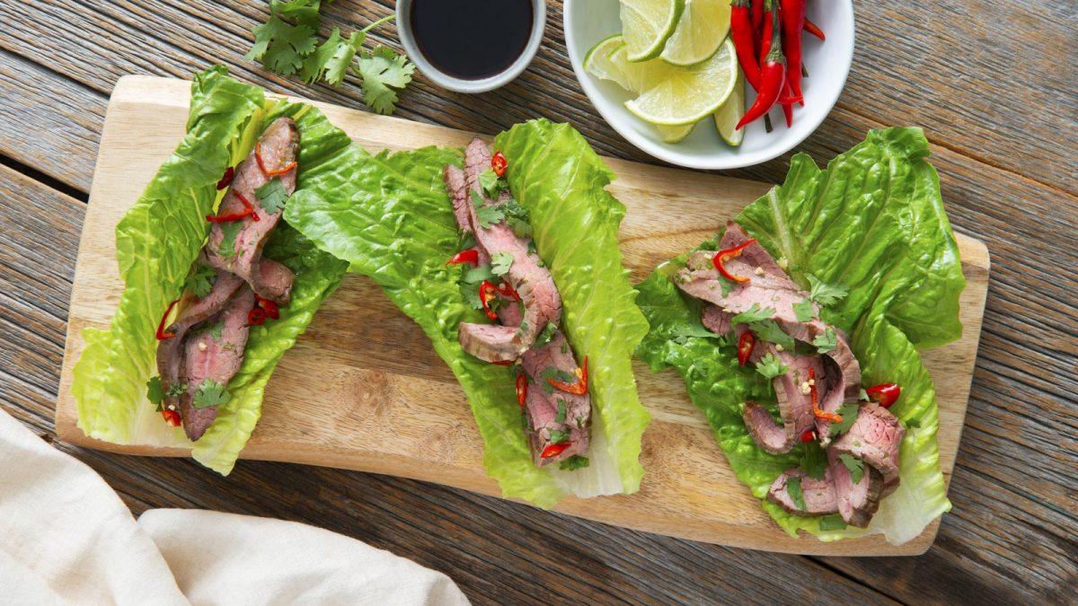 Vietnamese Grilled Flank Steak Lettuce Wraps