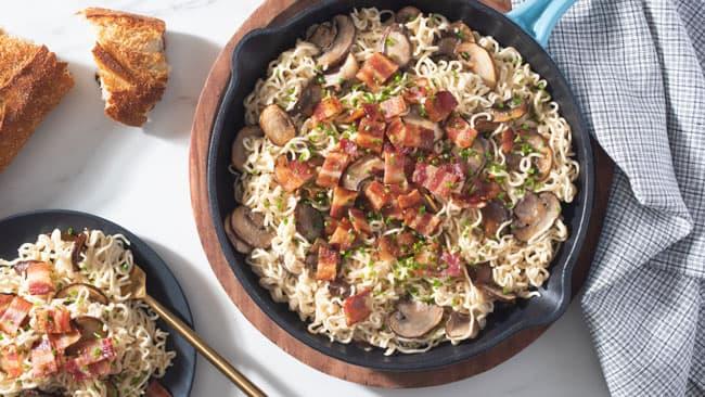 One-Pot Ramen and Mushroom Carbonara