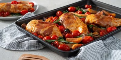 Prosciutto-Wrapped Chicken Sheet Pan Dinner recipe