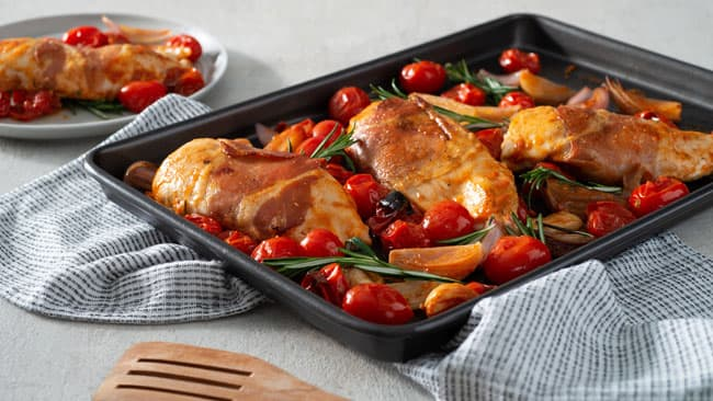 Prosciutto-Wrapped Chicken Sheet Pan Dinner