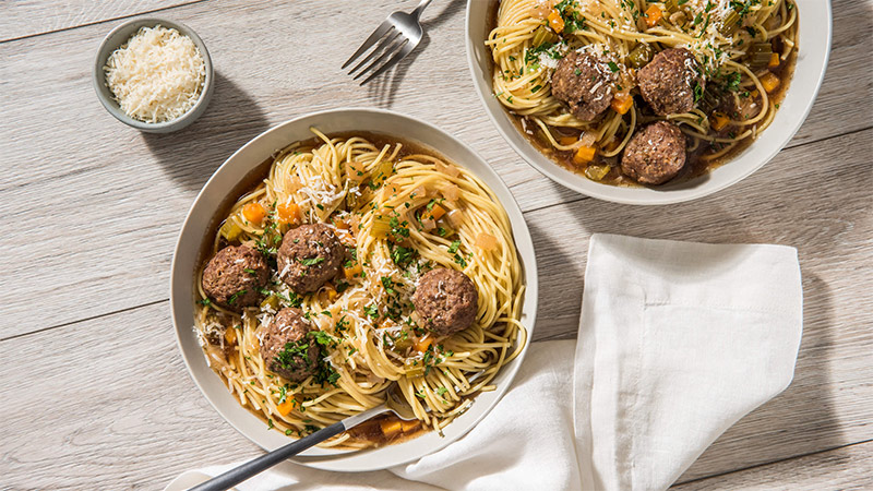 Spaghetti and Meatballs in Broth