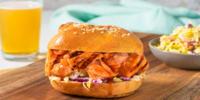 Barbecued Pulled Salmon Sandwiches recipe