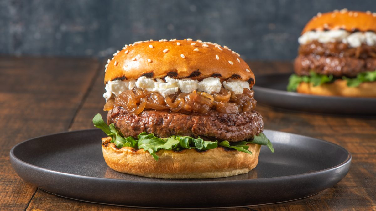 Caramelized Onion and Goat Cheese Burgers